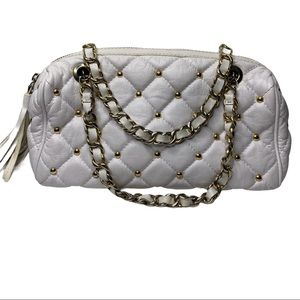 Claudia Firenze White Studded Quilted Shoulder Bag